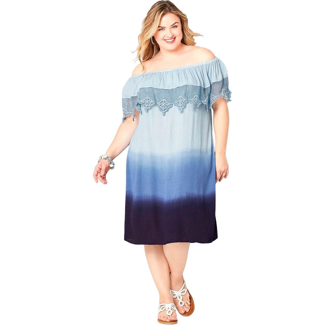 Avenue Plus Size Crochet Trim On Off Shoulder Dress ...