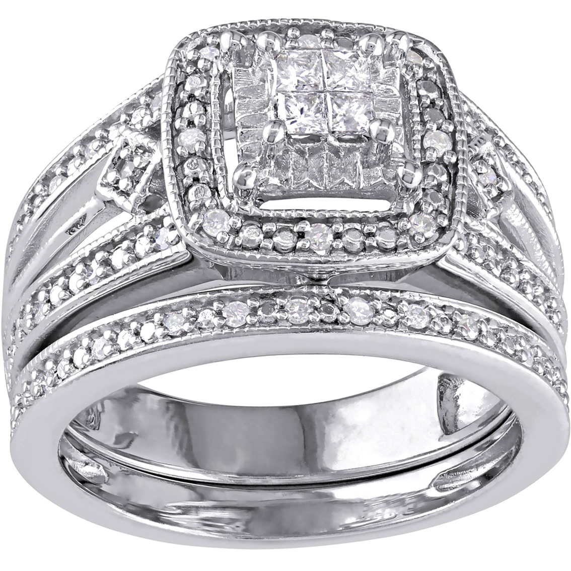 1 4 Ct Tw Diamond Quad Filigree Bridal Set In Sterling Silver