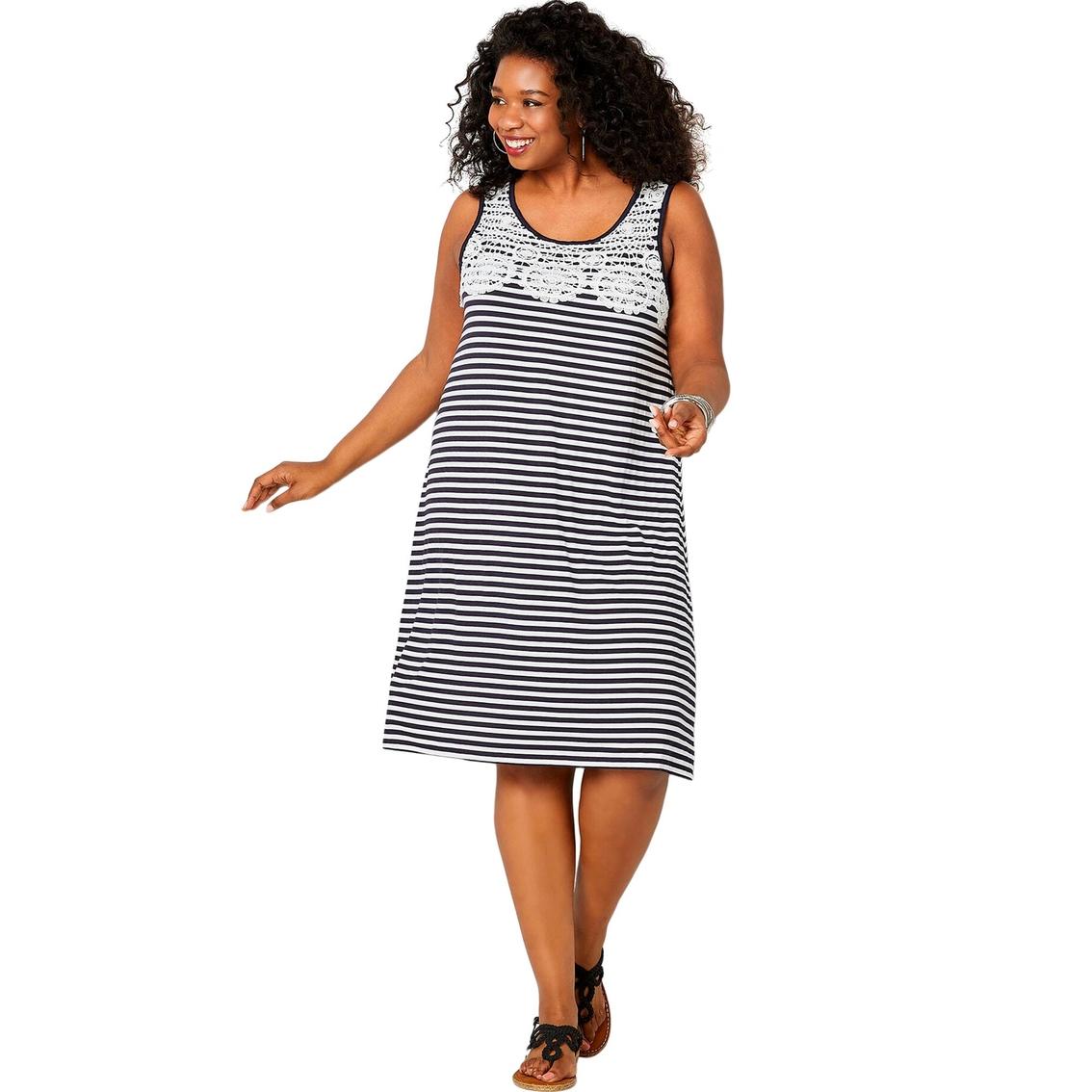 Avenue Plus Size Lace Trimmed Stripe Dress | Dresses ...