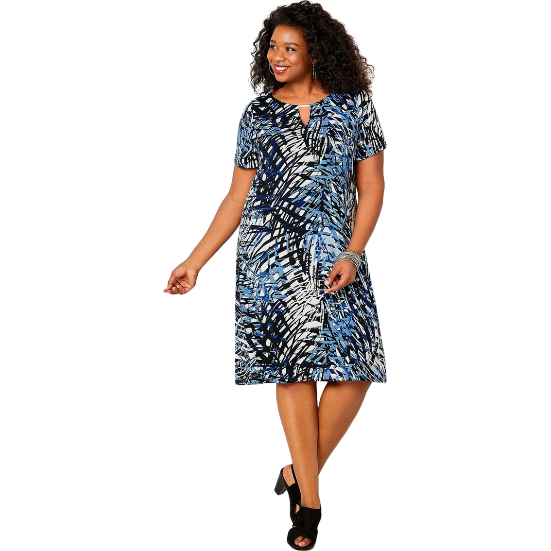 Avenue Plus Size Palm Tree Print A-line Dress | Dresses ...