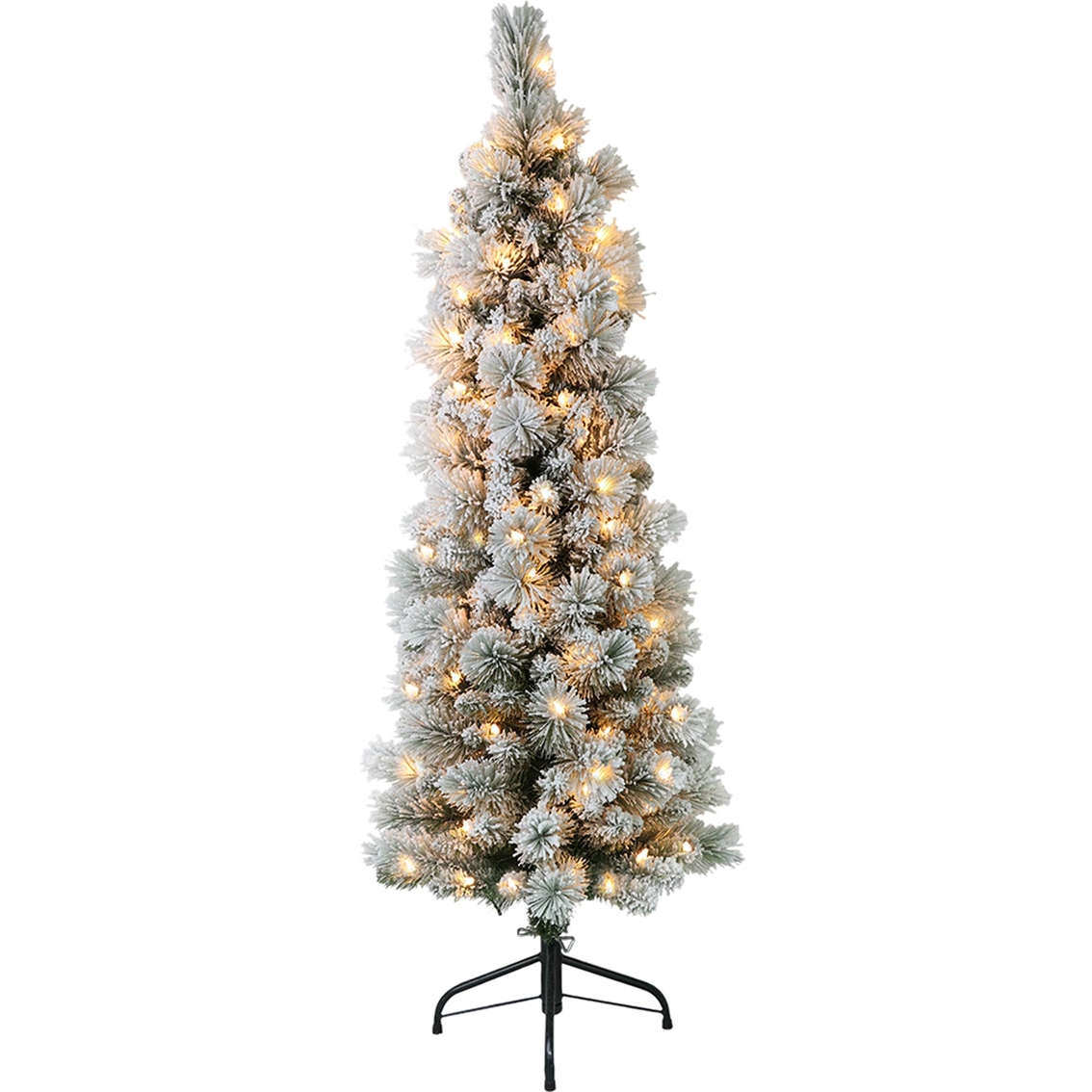 4 5 Ft Pre Lit Flocked Patagonia Pine Pencil Christmas Tree With 100 Lights Trees Stands Household Shop The Exchange