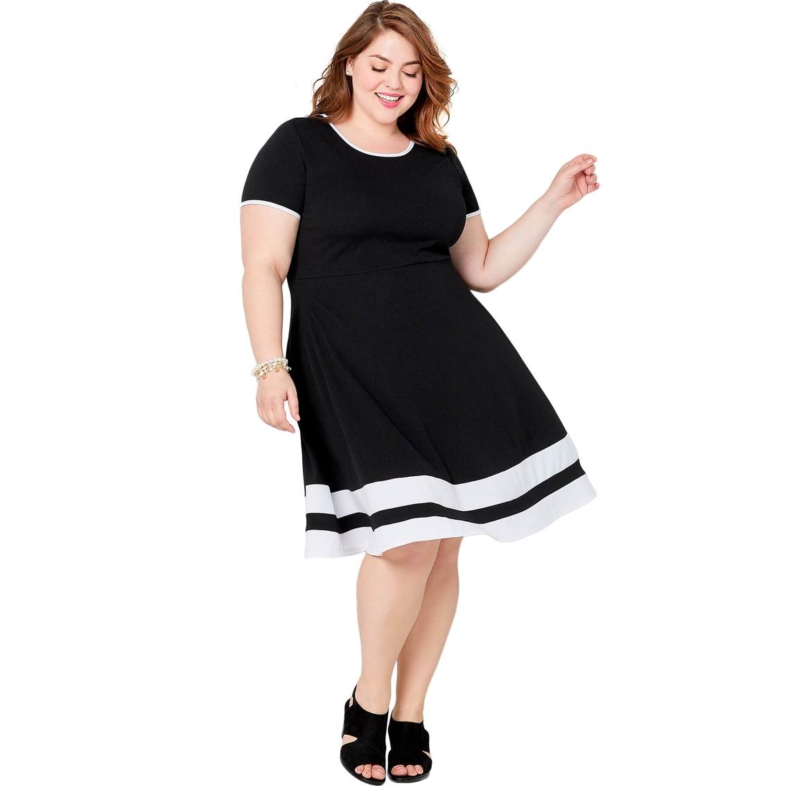 Avenue Plus Size Skater Dress With Border Stripes | Dresses ...