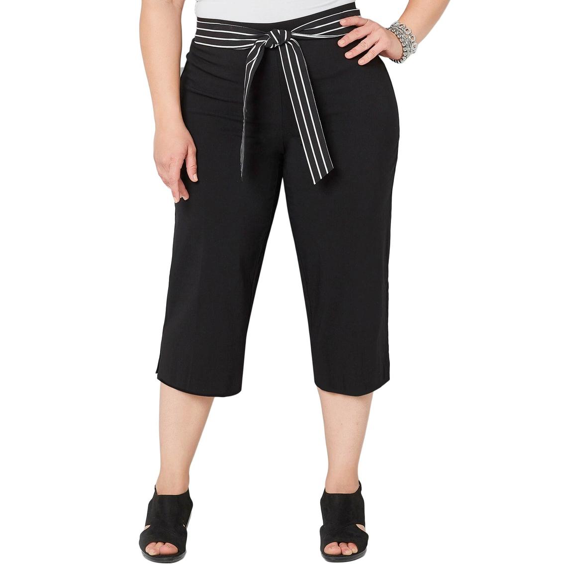 Avenue Plus Size Super Stretch Black Capri Pants With Scarf ...