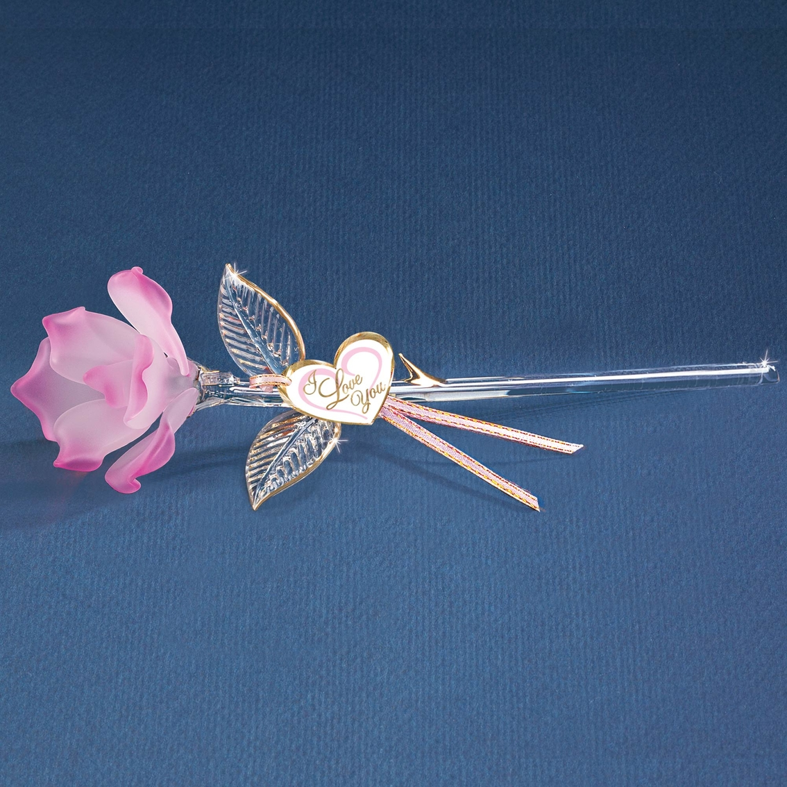 Glass Baron Handcrafted Pink Rose Glass Art Metal