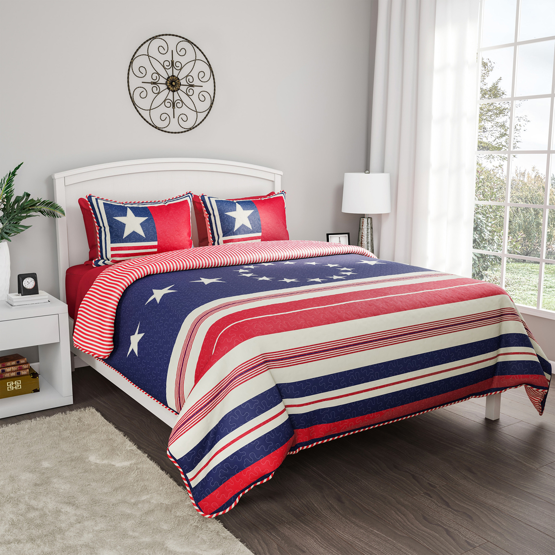 Queen Quilt 3 PC American Flag Patriotic Red White Blue Set With Shams