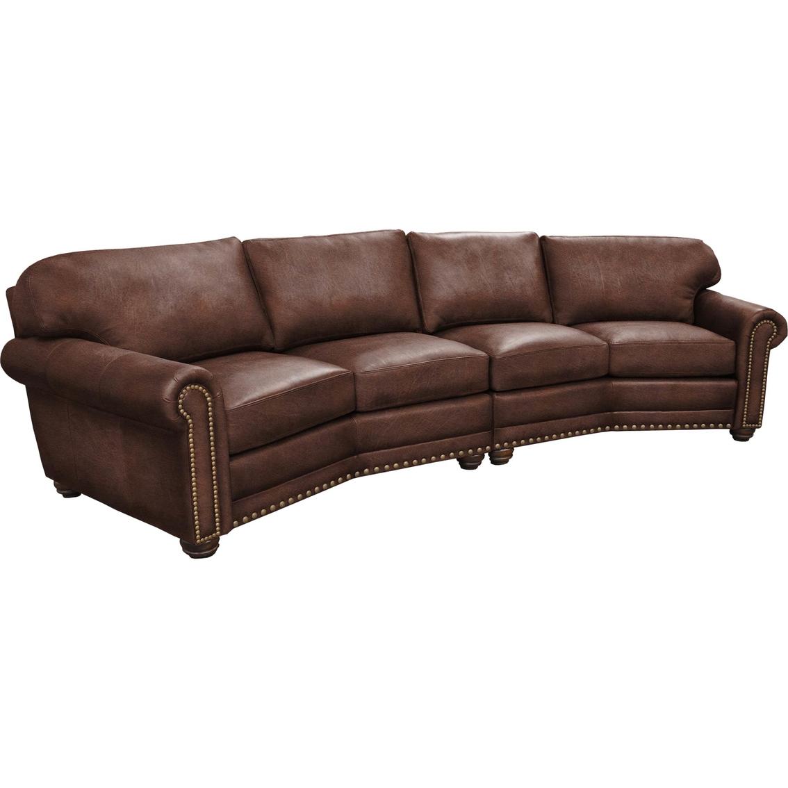 Omnia Italian Dominion Leather 4 Cushion Conversation Sofa ...