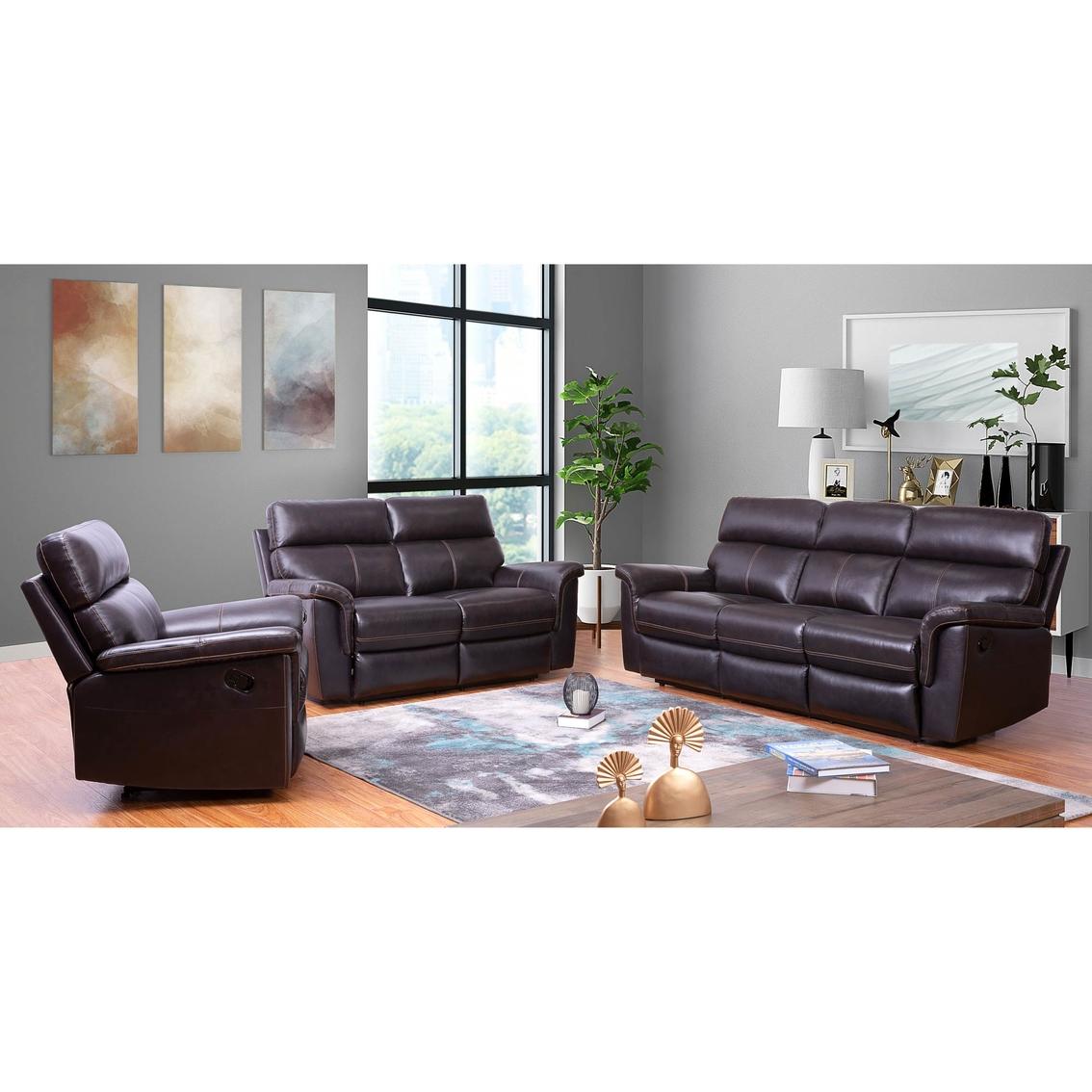 Abbyson Wakefield Top Grain Brown Recliner Leather Sofa Set ...