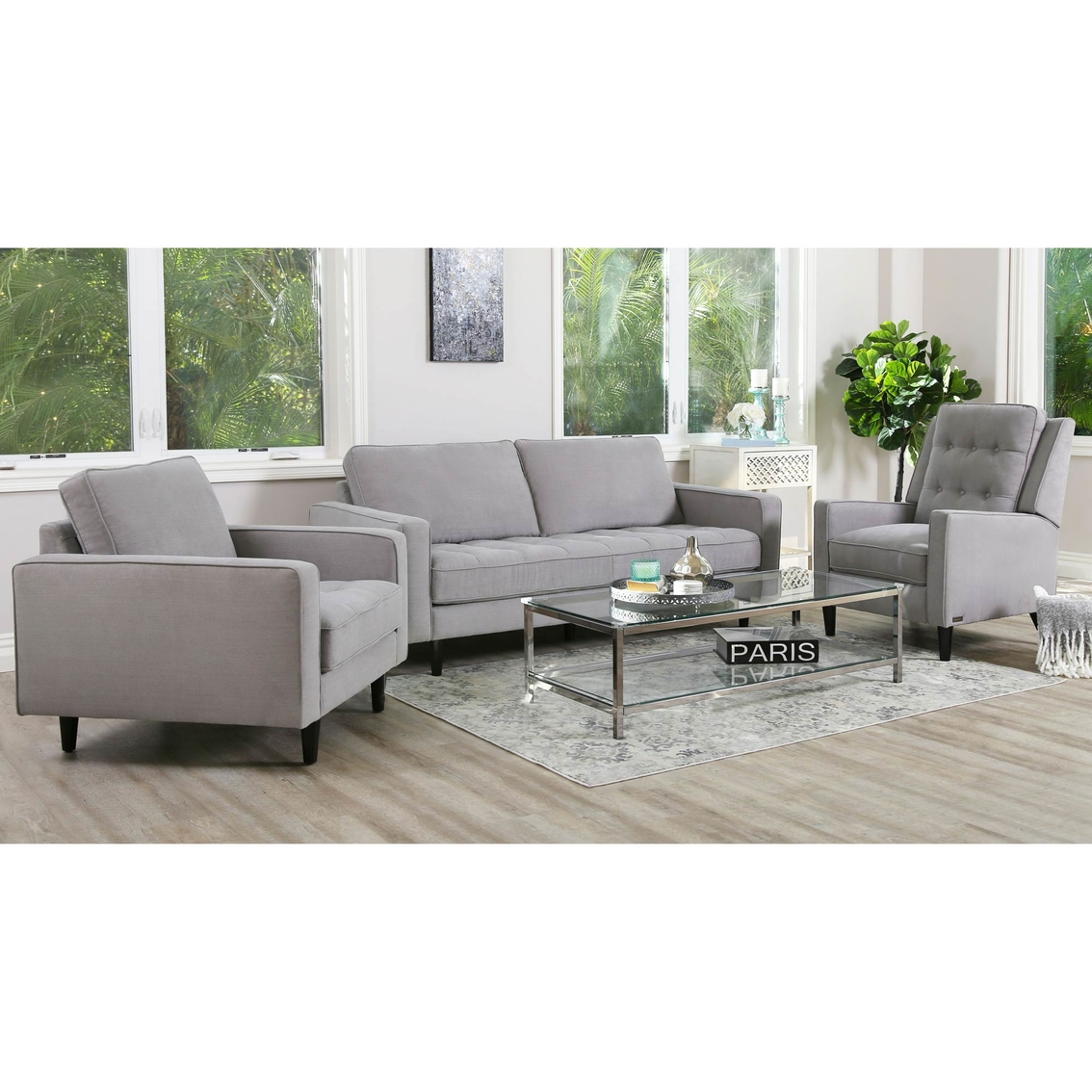Abbyson Abel Tufted Fabric Sofa Chair And Recliner Sety
