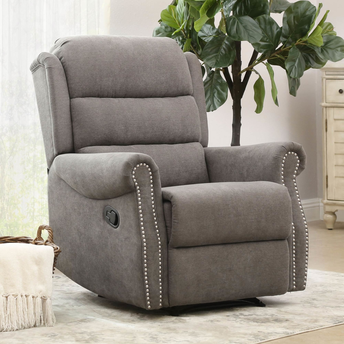 Sensational Abbyson Carey Fabric Nailhead Recliner Chairs Recliners Gmtry Best Dining Table And Chair Ideas Images Gmtryco