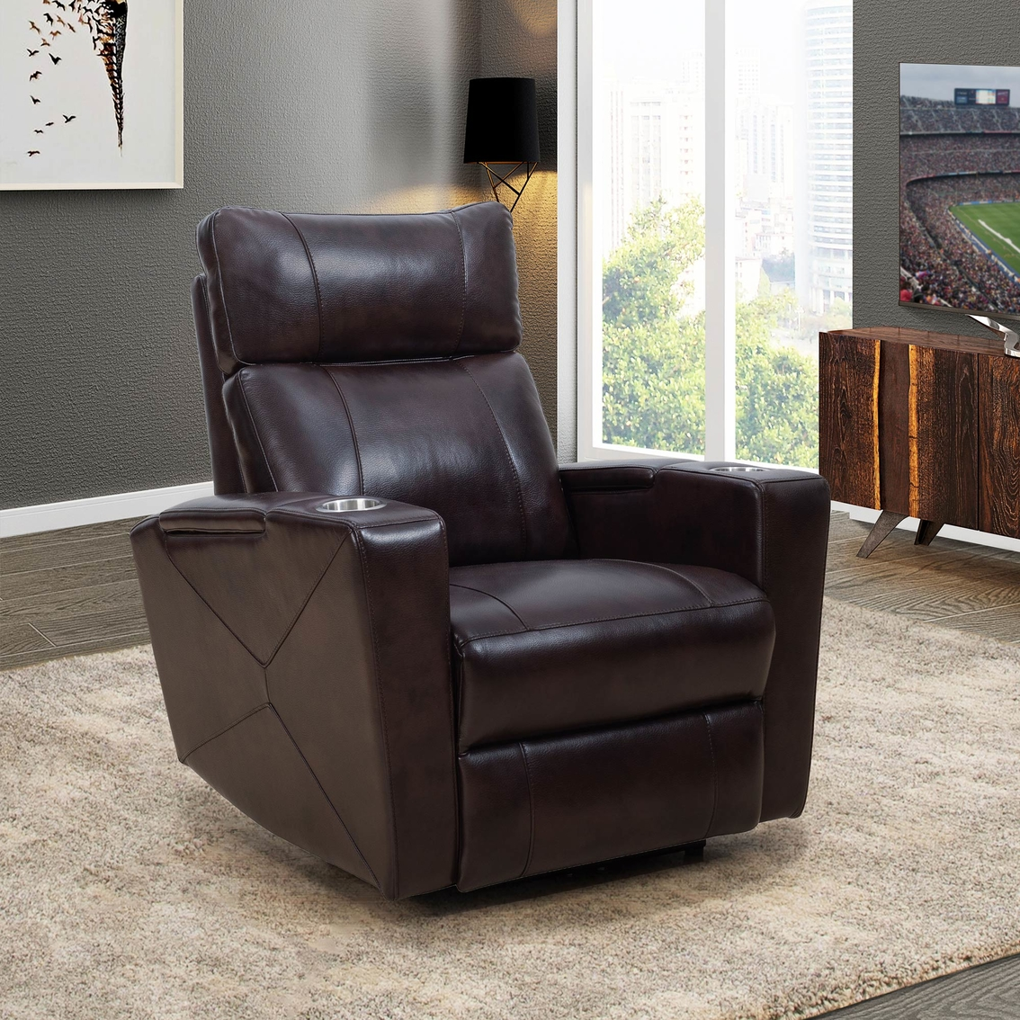 Outstanding Abbyson Chayne Power Theater Recliner Chairs Recliners Gmtry Best Dining Table And Chair Ideas Images Gmtryco