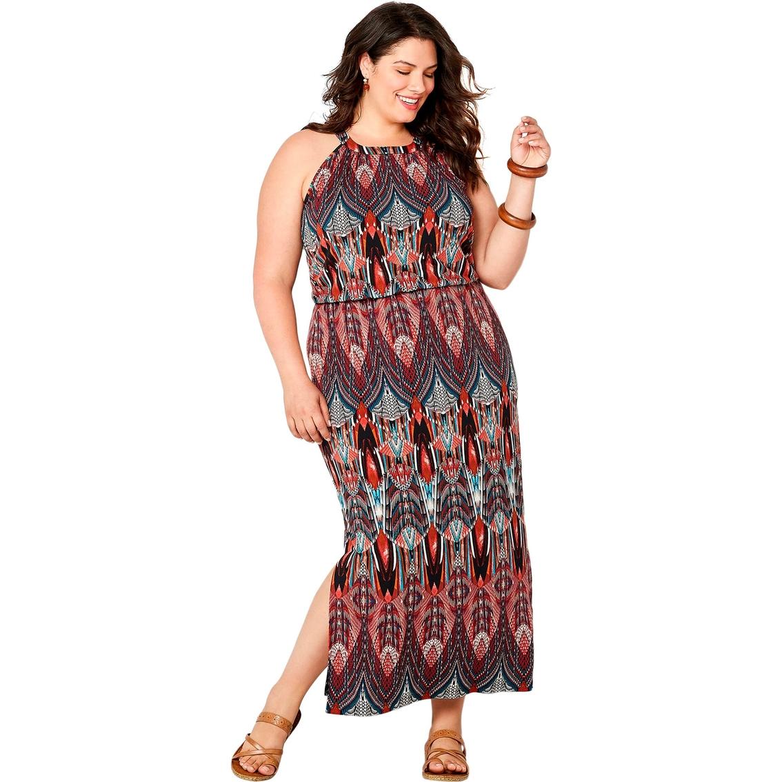 Avenue Plus Size Art Deco Inspired Print Maxi Dress ...