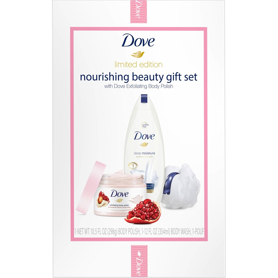 Dove Beauty Pomegranate Seeds And Shea Butter With Pouf 3 Pc Gift Set Gift Sets Shop The Exchange