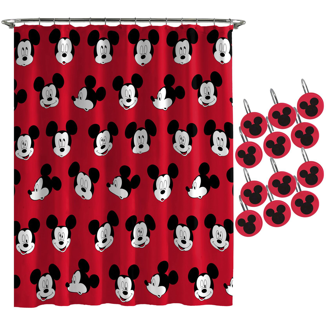 Mickey Cute Faces Shower Curtain Hook Set Shower