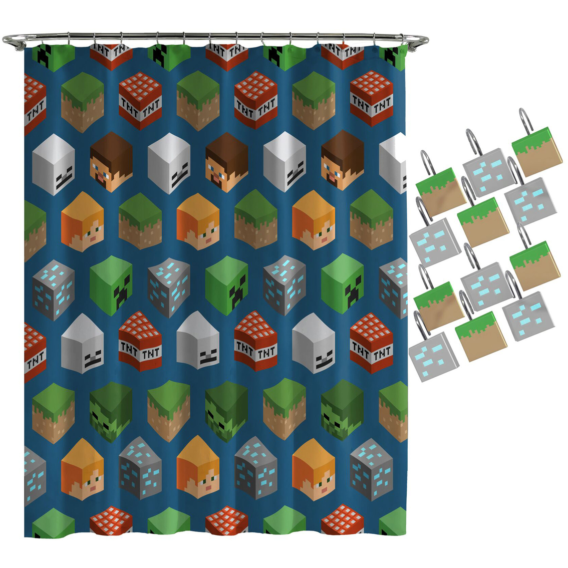Minecraft Isometric Shower Curtain And Hook Set Shower