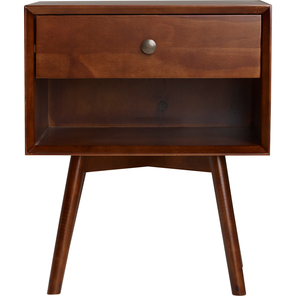 Walker Edison Mid Century One Drawer Solid Wood Nightstand Nightstands Furniture Appliances Shop The Exchange
