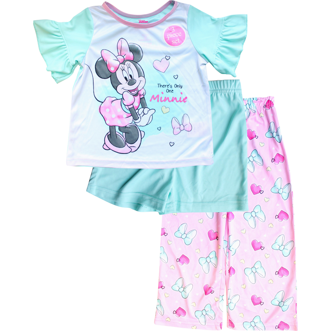 NWT Toddler Girl 3 piece Minnie Mouse Pajama Set 3T Pjs Short Sleeve Pants