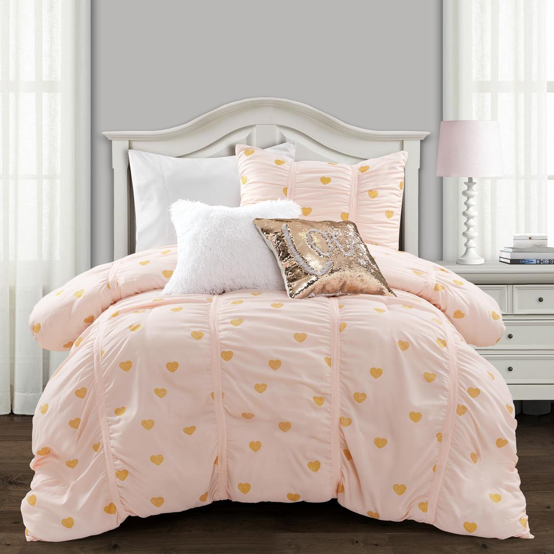 Lush Decor 3 Pc Distressed Metallic Heart Print Comforter Set Bedspreads Household Shop The Exchange