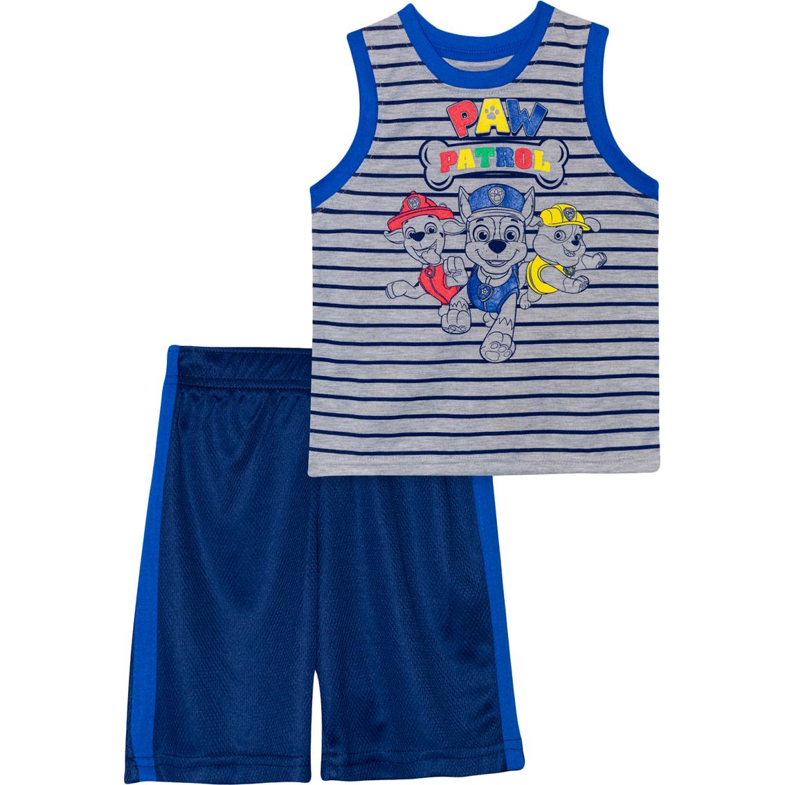 Toddler Boys PAW PATROL TANK TOP /& SHORTS SET Blue Green Aqua Plaid 2T 3T 4T 5T
