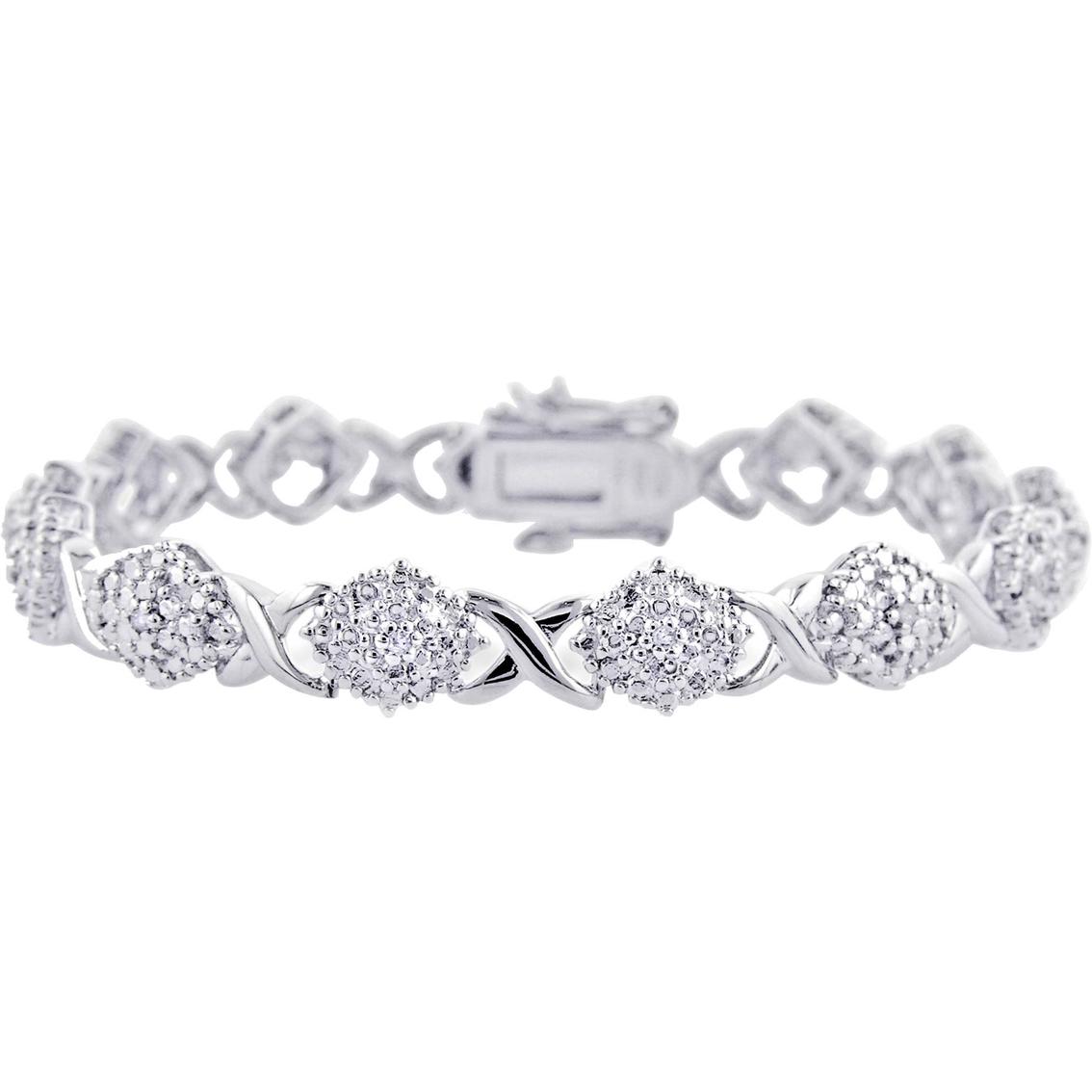 Sterling Silver 1 4 Ctw Diamond Fancy Xoxo Bracelet