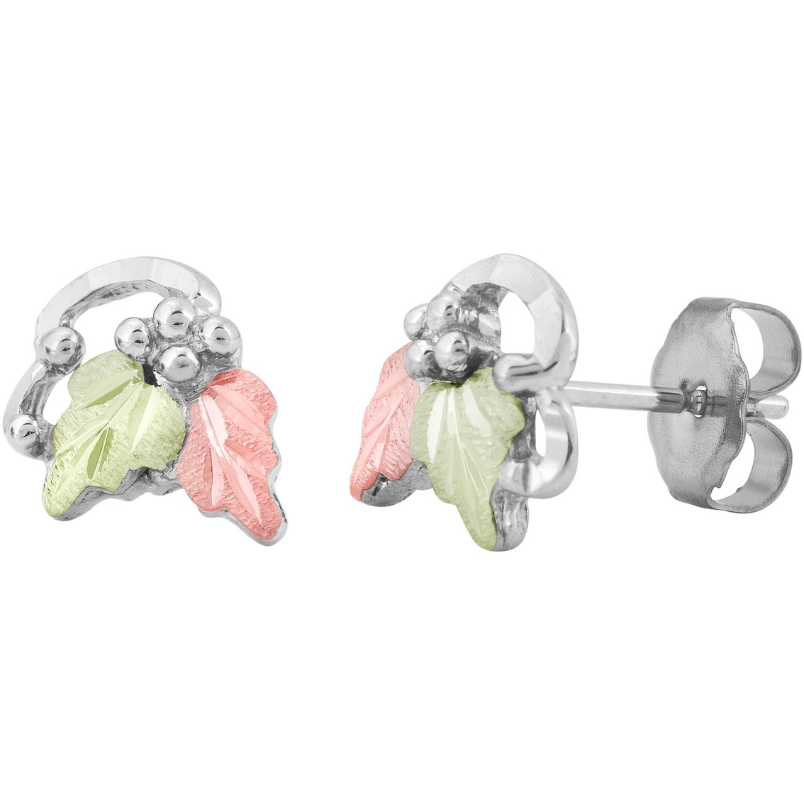 Black Hills Gold Silver Leaf Earrings