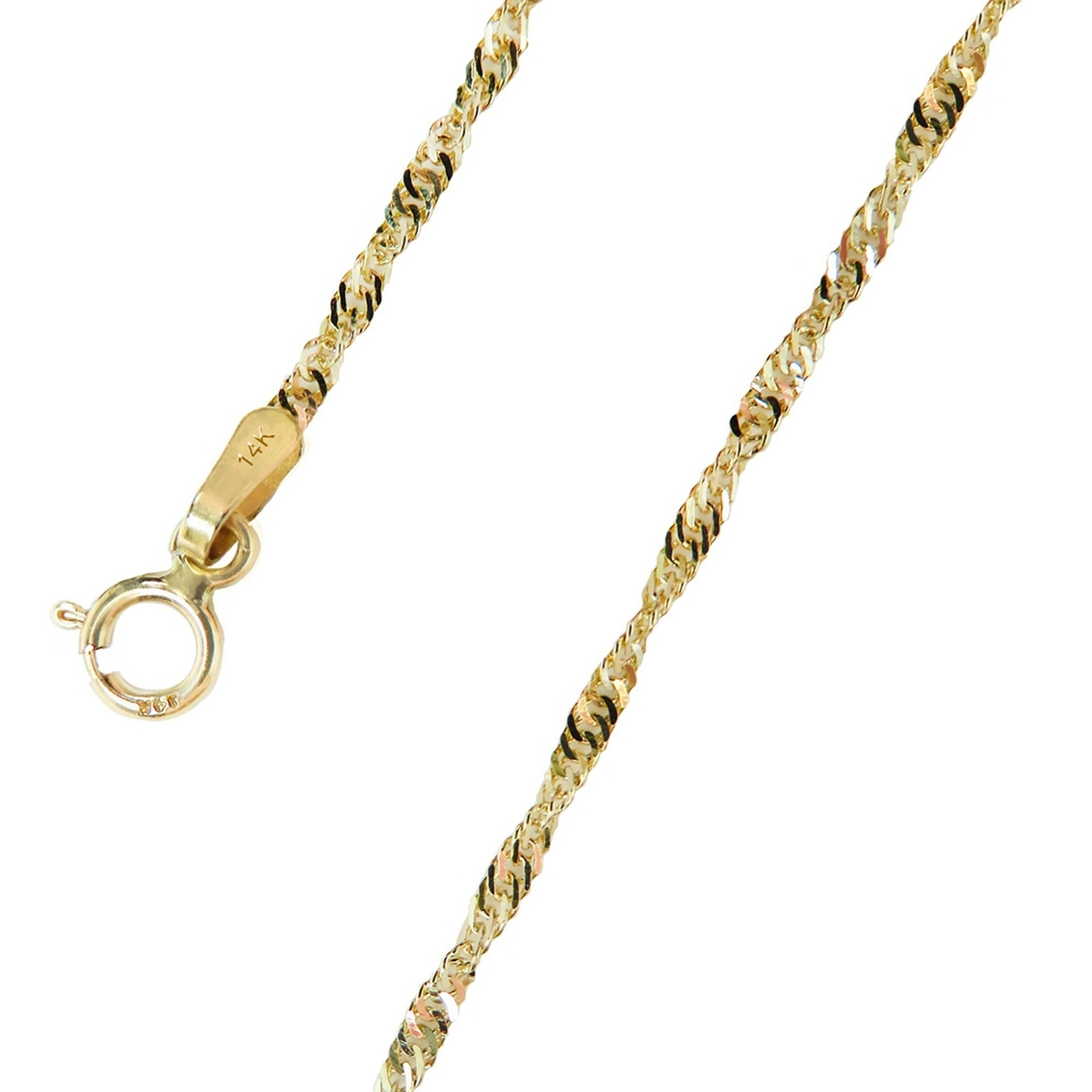 14K Yellow Gold 1.8mm Singapore Chain