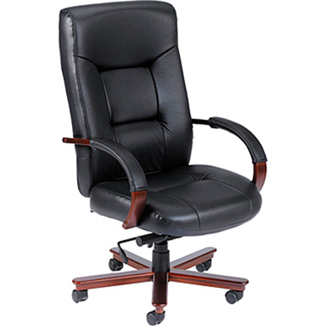 Presidential seating black top grain leather computer chair with mahogany finish
