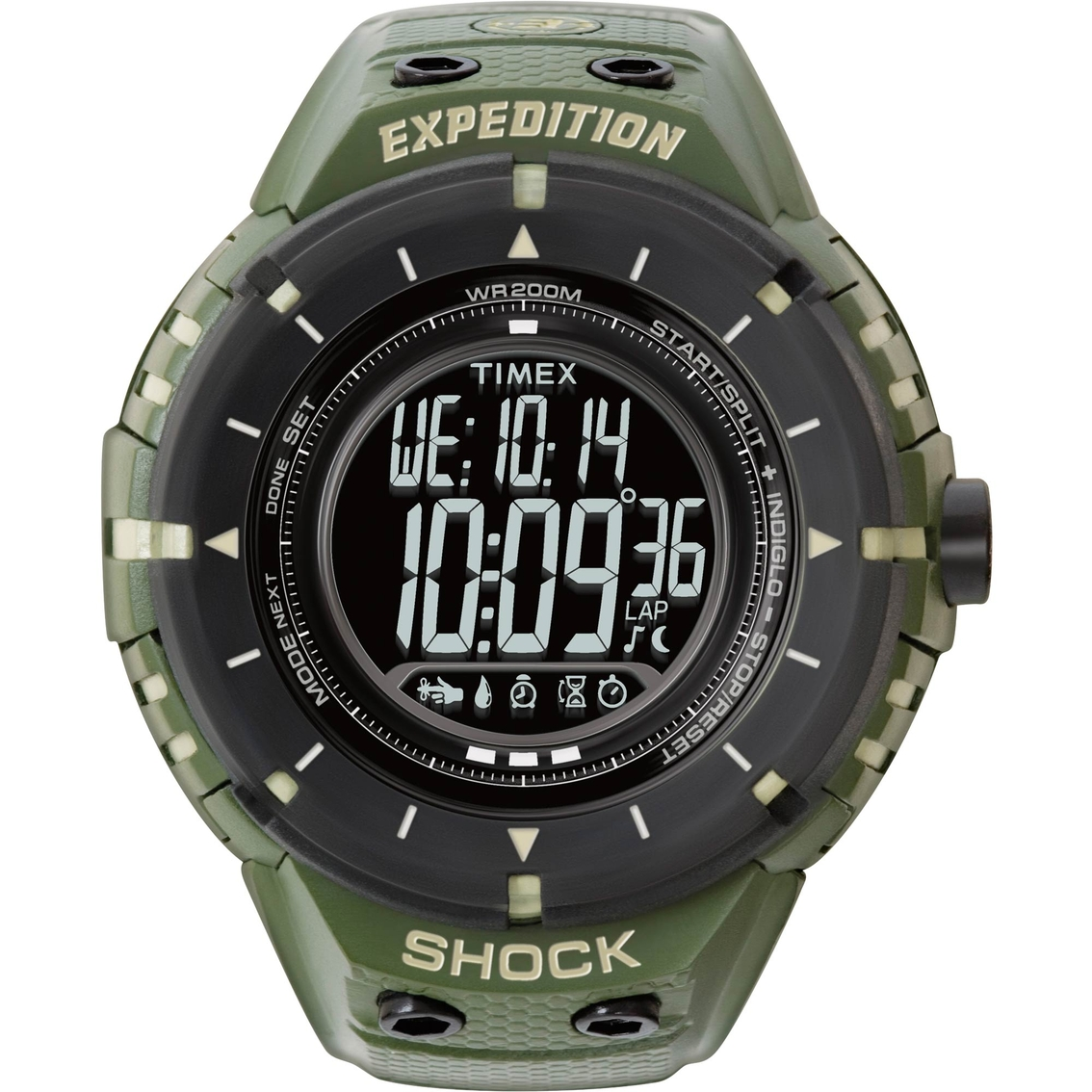 BRAND NEW TIMEX T49947 EXPEDITION DIGITAL GREEN NYLON ... |Timex Expedition Digital Watches Men
