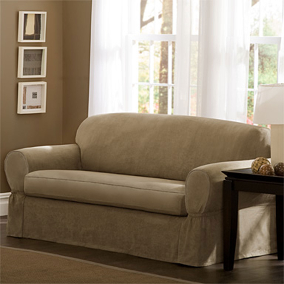 Incredible Maytex Piped Faux Suede 2 Pc Sofa Slipcover Slipcovers Alphanode Cool Chair Designs And Ideas Alphanodeonline