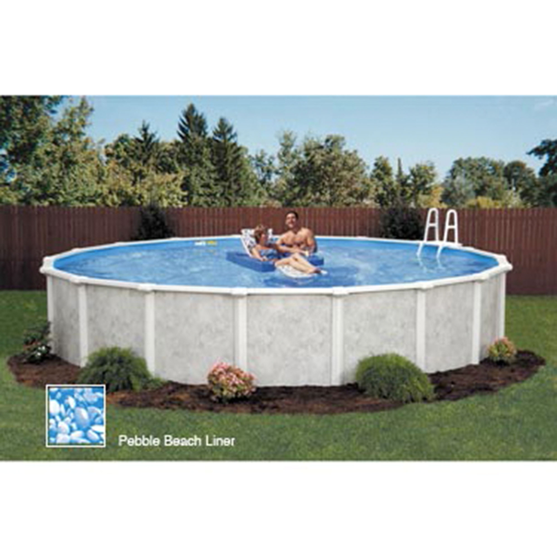 Lomart grey mist round above ground swimming pool package for Above ground pool deals