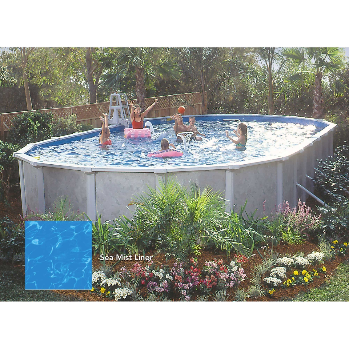 Lomart Grey Mist Oval Above Ground Swimming Pool Package