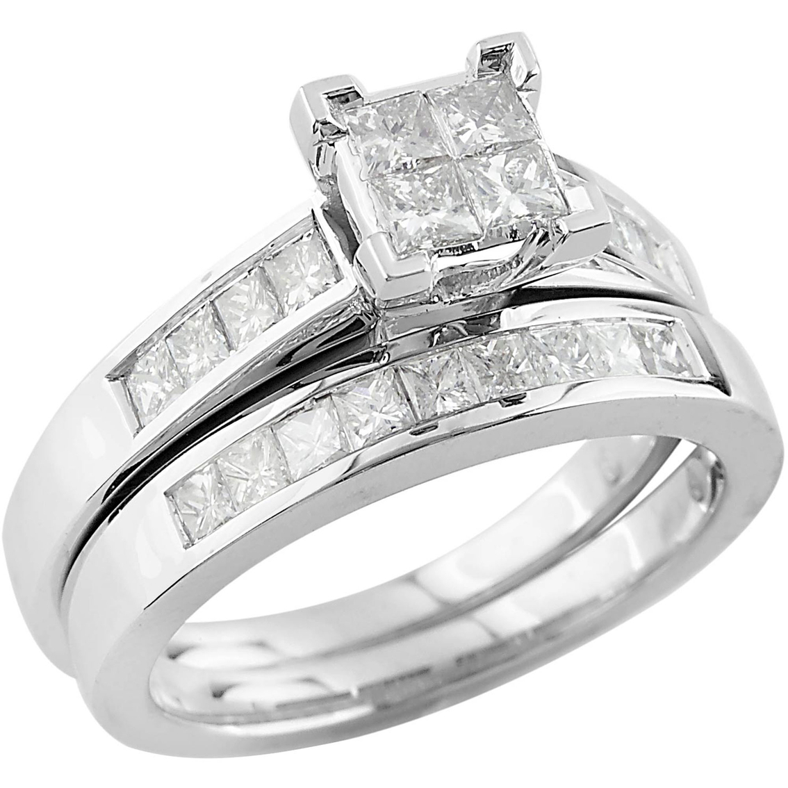 14k White Gold 1 Ctw Princess Cut Quad Cluster Diamond Bridal Set