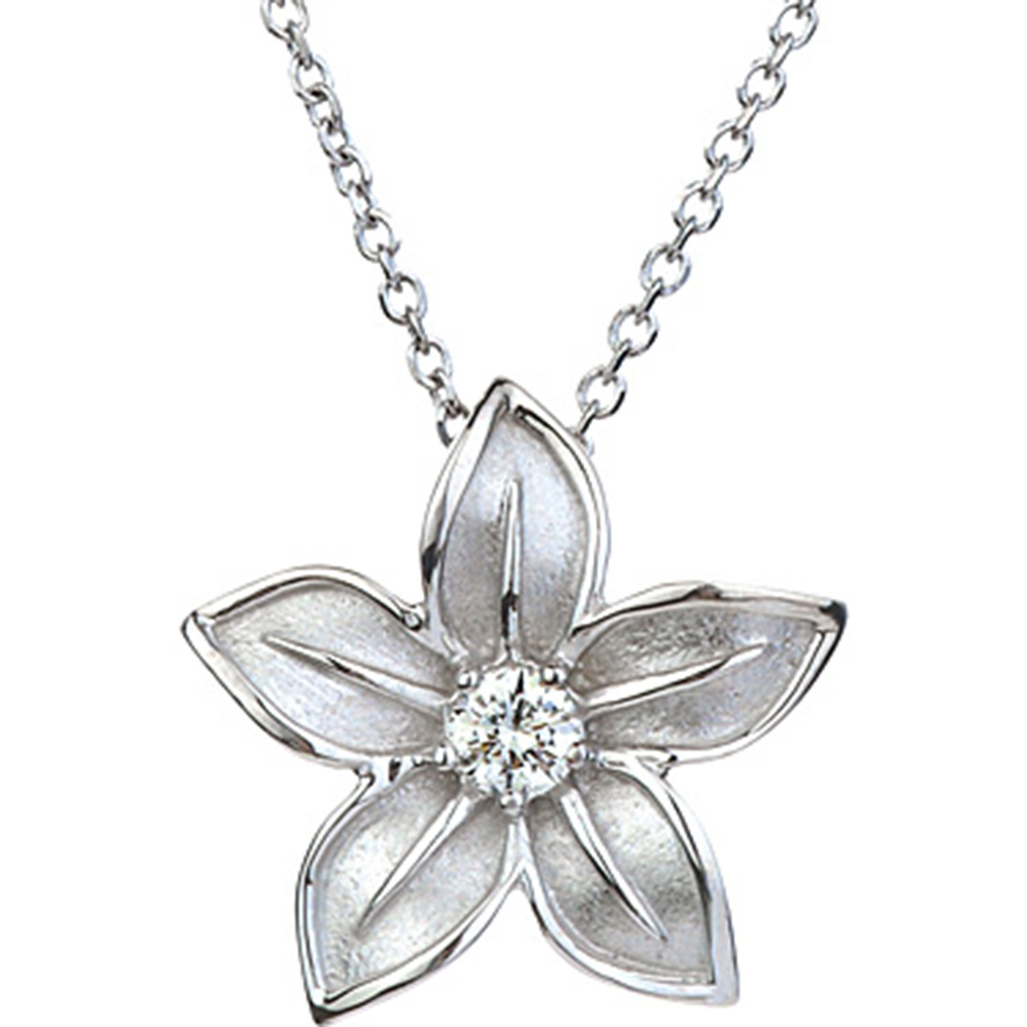 14k White Gold 1 6 Ct 5 Petal Flower Pendant With Diamond