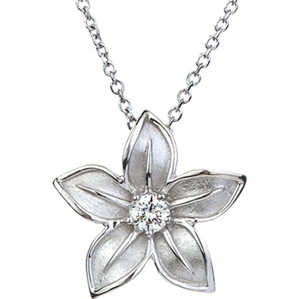 14k White Gold 1/6 Ct. 5 Petal Flower Pendant With Diamond ...