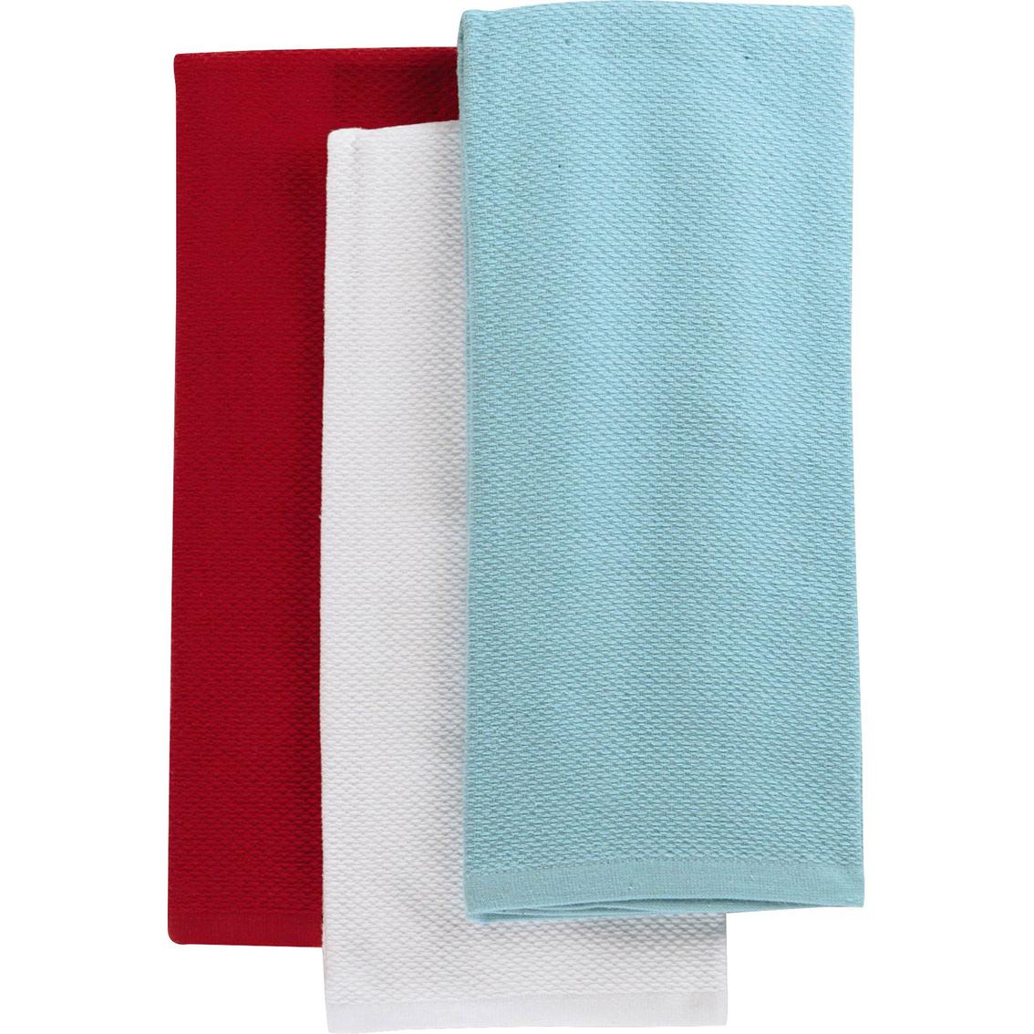 Martha Collection 3 Pc Pique Kitchen Towel Set