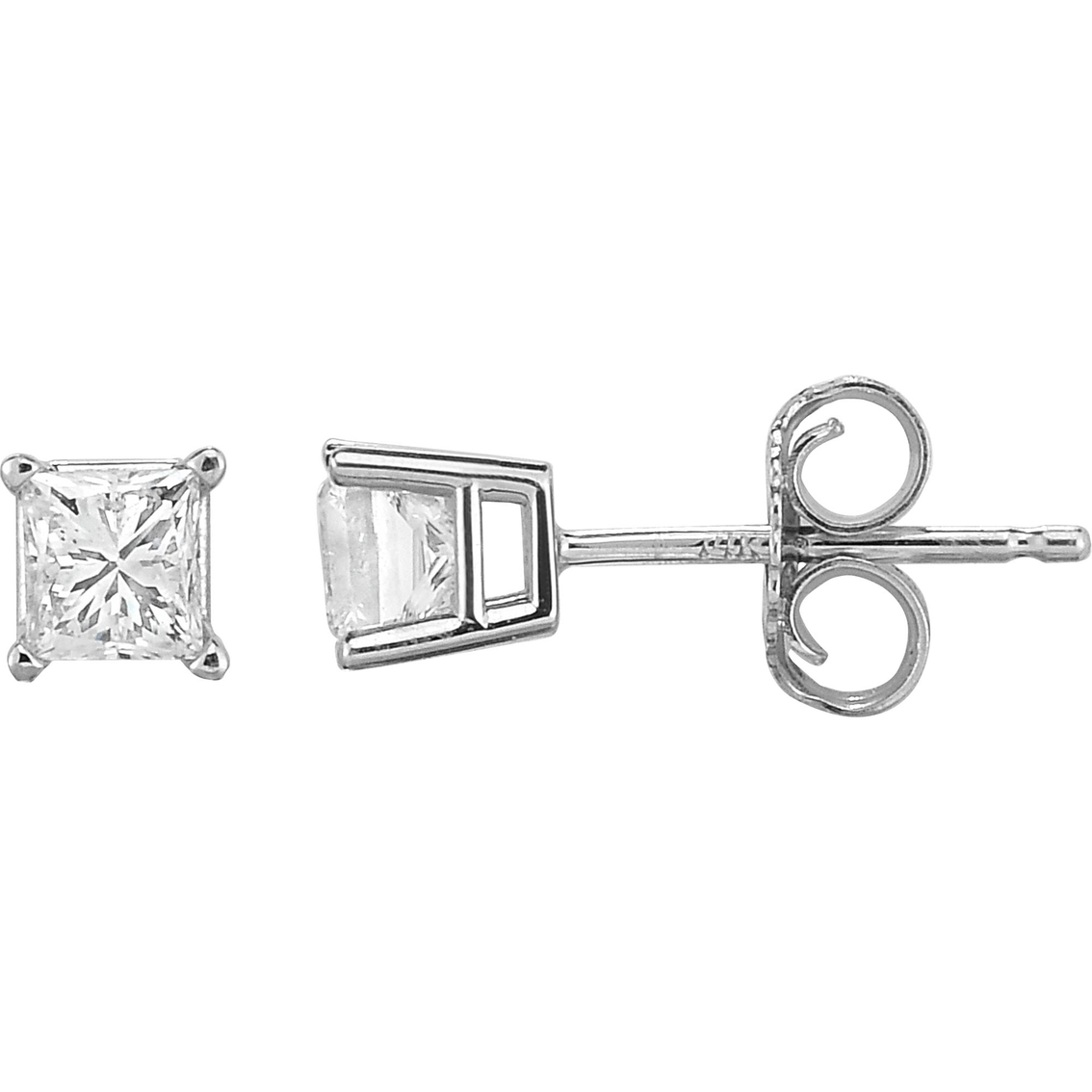 14k White Gold 1 2 Ctw Princess Cut Diamond Stud Earrings