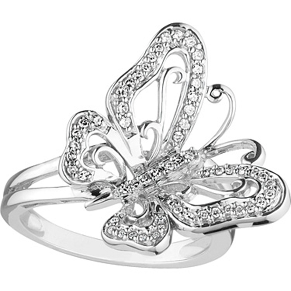 7819a8a7c Sterling Silver 1/5 Ctw Diamond Butterfly Ring, Size 7   Diamond ...