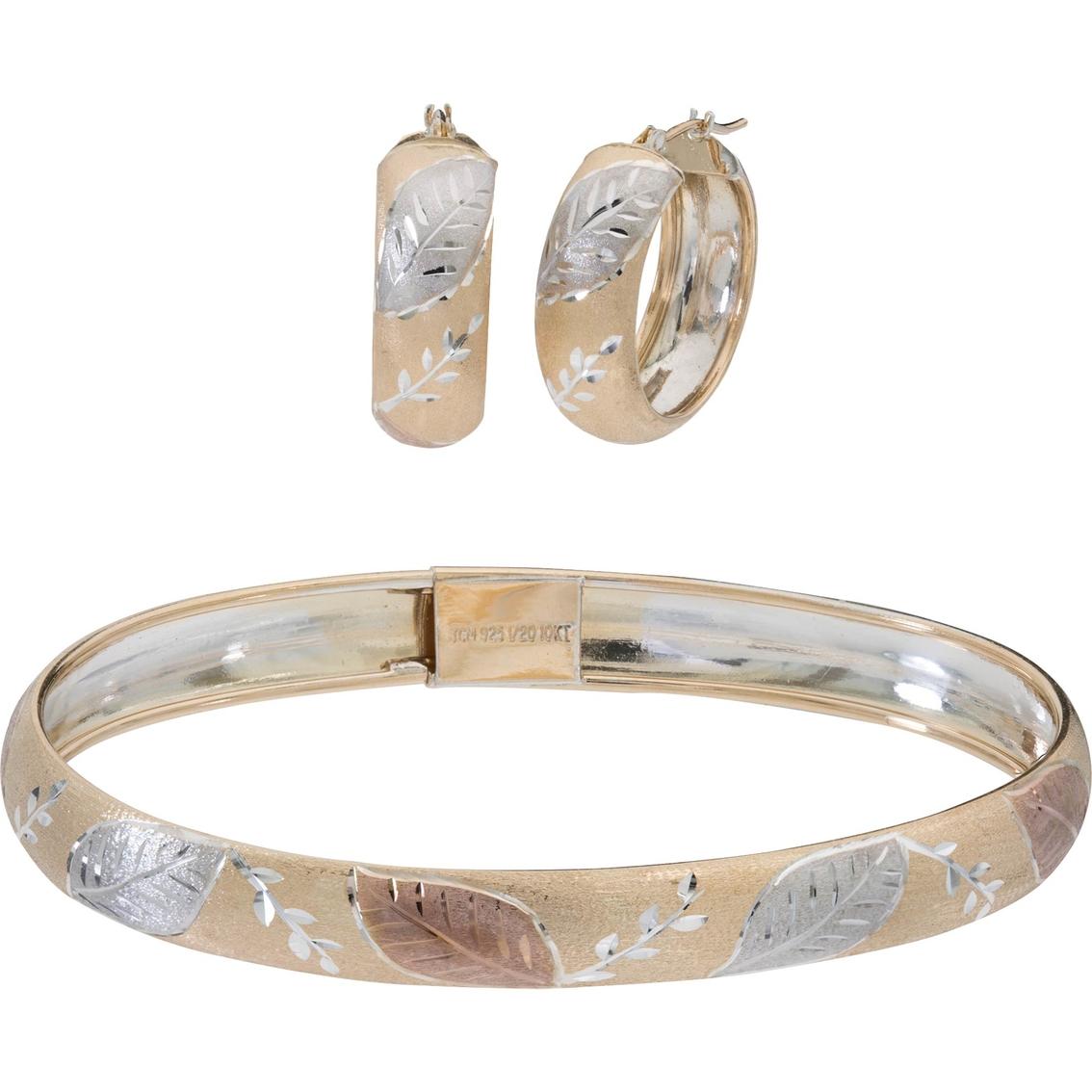 10k Gold And Sterling Silver Leaf Bangle Hoop Set
