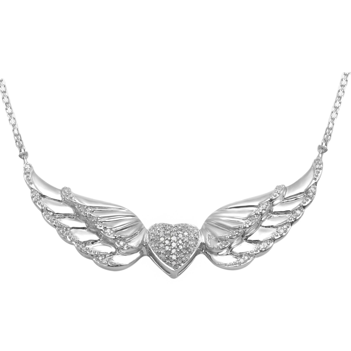 Sterling Silver 1 5 Ctw Diamond Angel Wing With Heart