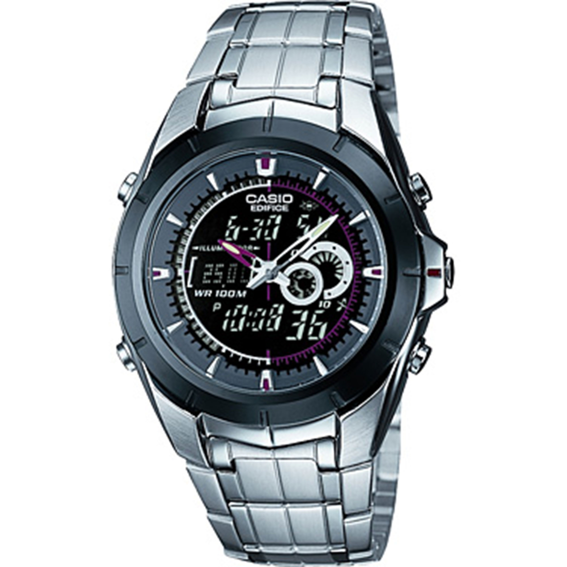 casio men s edifice analog digital thermometer watch stainless 3015