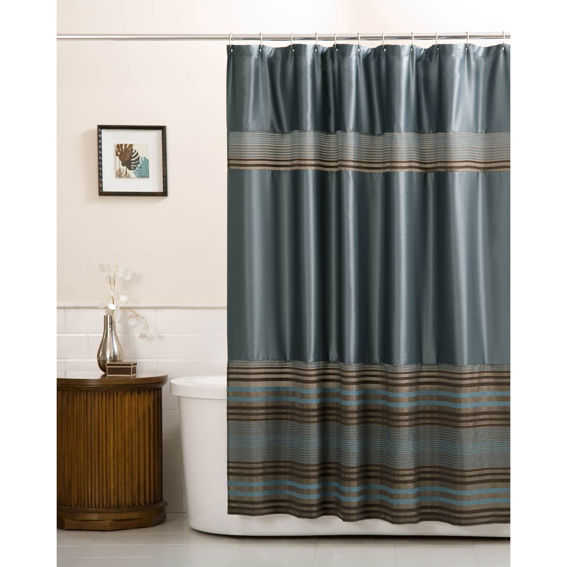 Maytex Mark Chenille Stripe Shower Curtain Shower Curtains
