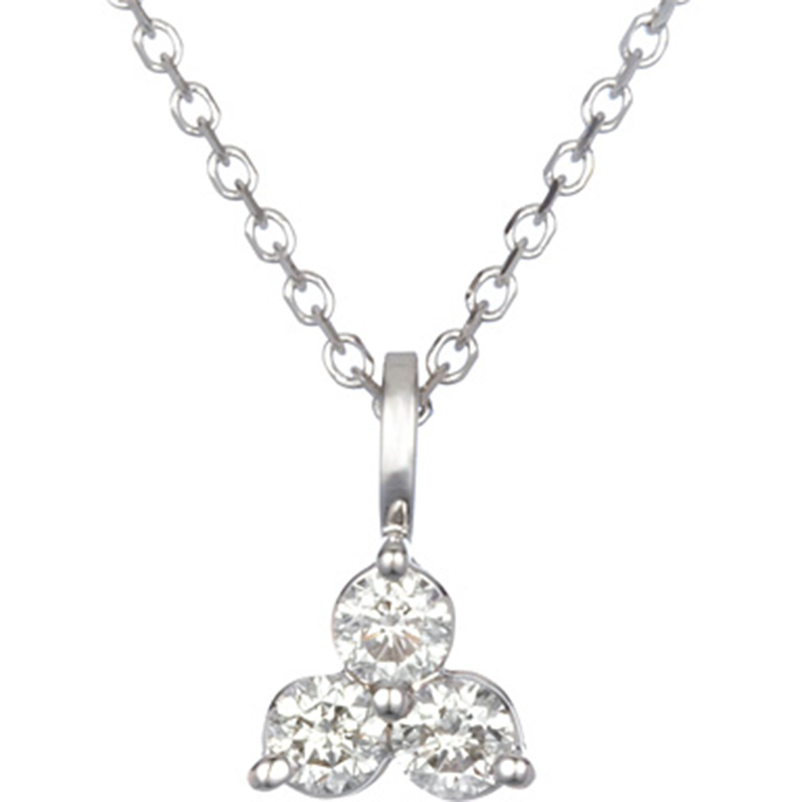 14k white gold 38 ctw triangle design 3 diamond pendant 3 stone 14k white gold 38 ctw triangle design 3 diamond pendant aloadofball Image collections