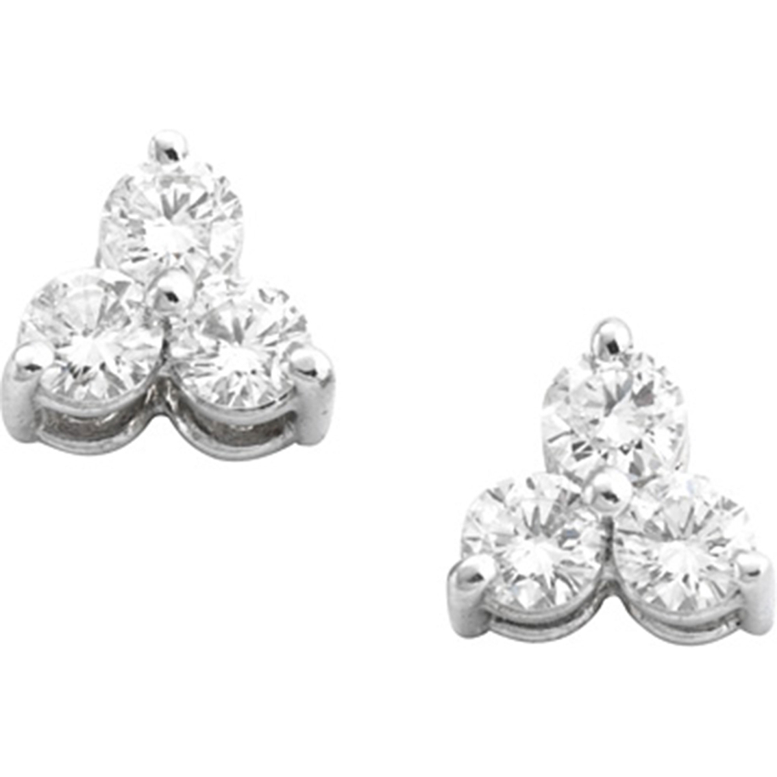 14k White Gold 3 4 Ctw Triangle Design 3 Diamond Earrings  89be2fb9e414