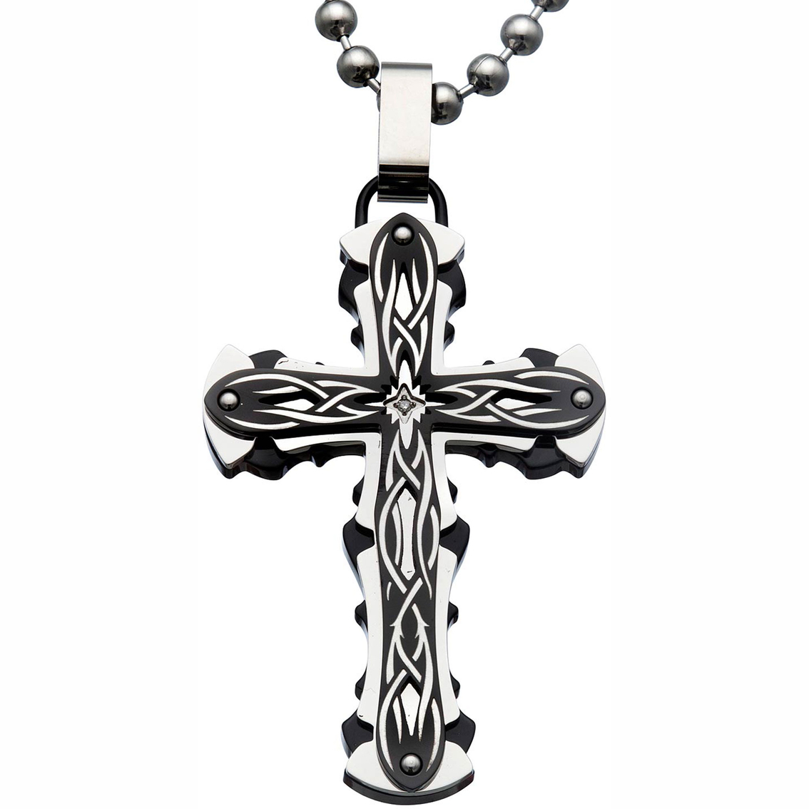 Black blue stainless steel and black ip tribal design cross 3015 aloadofball Choice Image