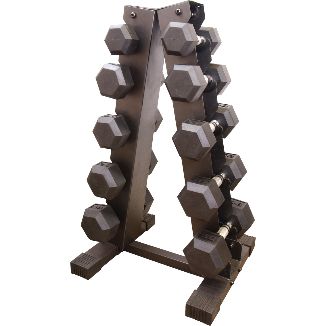 Cap Barbell Rubber-coated Hex Dumbbell Set With A-frame Rack