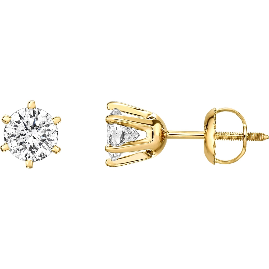 14k Gold 1 Ctw Diamond Solitaire Stud Earrings