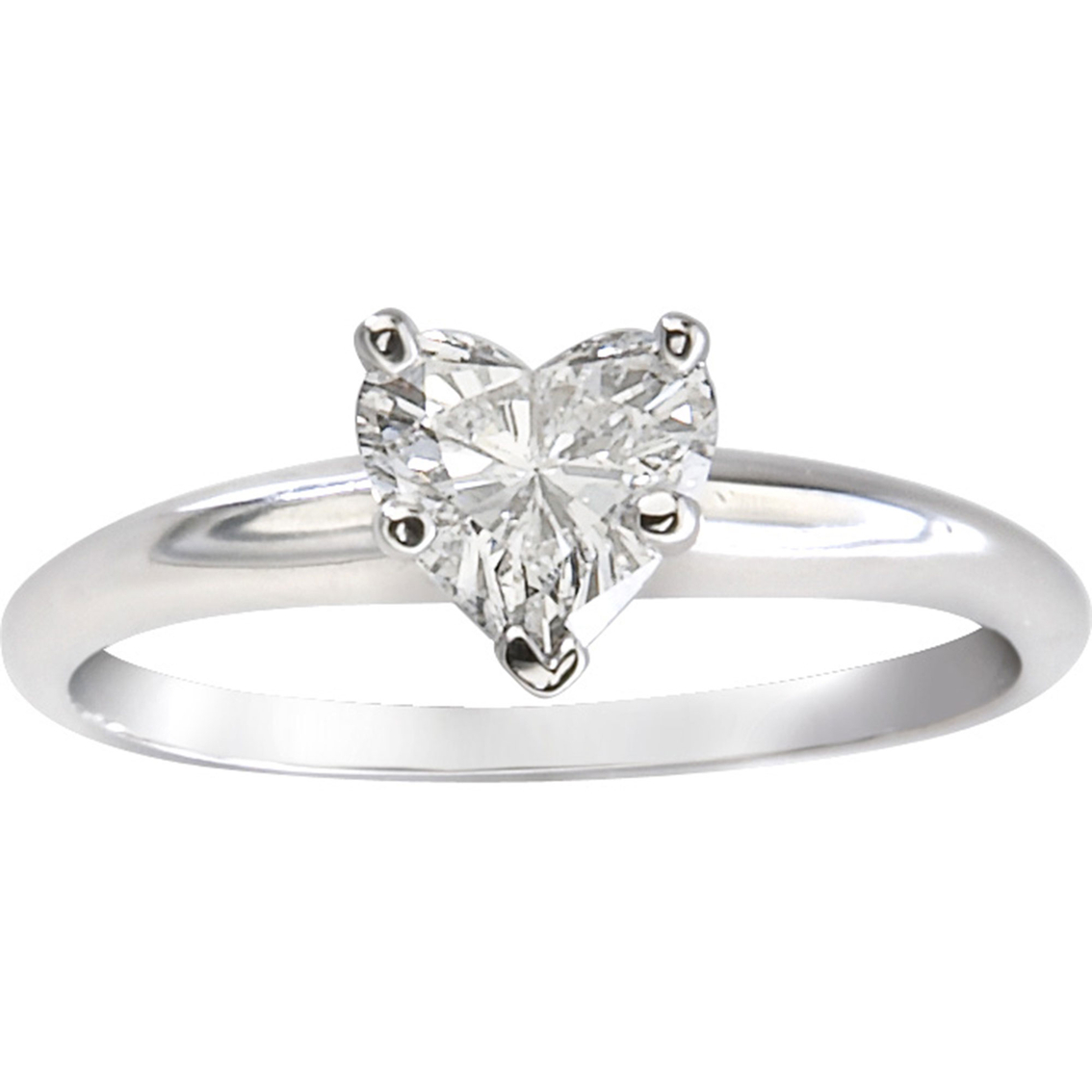 14k white gold 1 2 ct heart shaped solitaire diamond ring. Black Bedroom Furniture Sets. Home Design Ideas