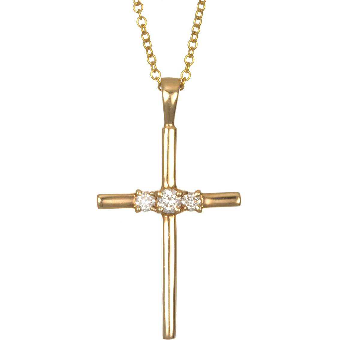 10k yellow gold 14 ctw rbc diamond 3 stone cross pendant diamond 10k yellow gold 14 ctw rbc diamond 3 stone cross pendant aloadofball Image collections