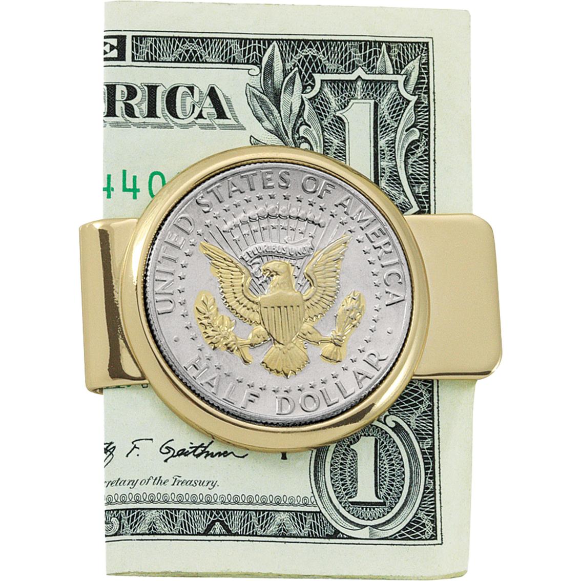 gold layered goldtone presidential seal jfk half dollar money clip