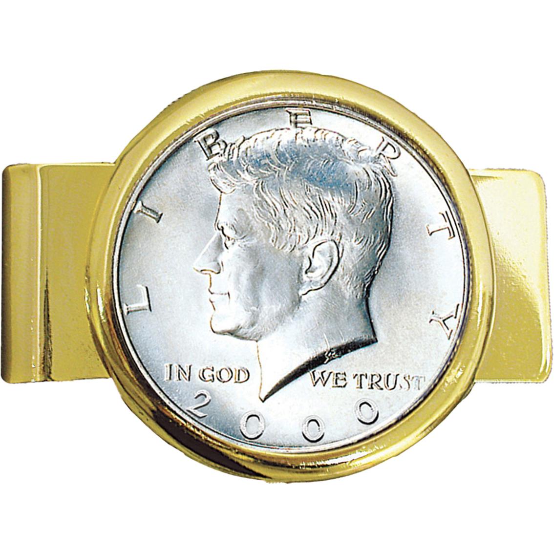 jfk half dollar goldtone money clip cuff links money clips