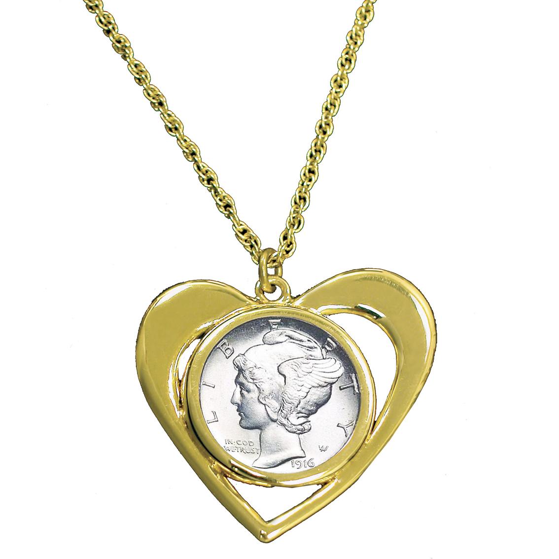 goldtone mercury dime pendant hearts jewelry